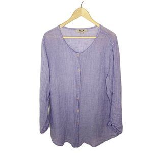 FLAX Linen ButtonUp Tab Sleeve Tunic Lagenlook Top